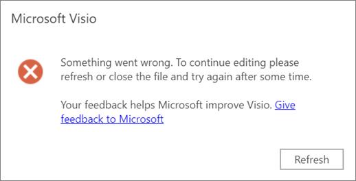 Screenshot di un errore durante la modifica di un file in Visio