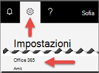Immagine che mostra dove fare clic su impostazioni.