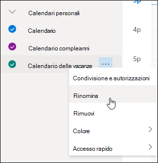 Screenshot del menu di scelta rapida del calendario, con Rinomina selezionato