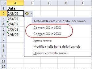 Comandi per la conversione di date