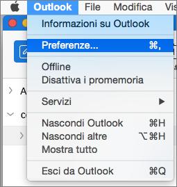 Menu Outlook con l'opzione Preferenze evidenziata