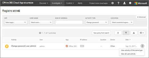 In Office 365 Cloud App protezione, scegliere analizza > registro attività.