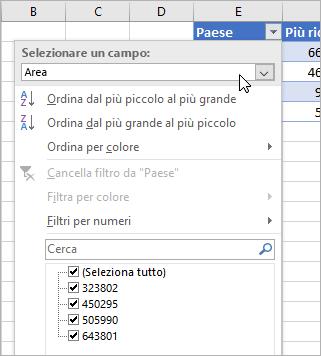 Menu Filtro, menu Valore visualizzato, campi elencati del tipo di dati collegato
