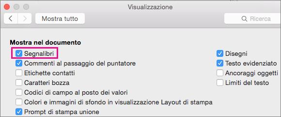 Finestra Visualizza in Preferenze con l'opzione Segnalibri evidenziata.