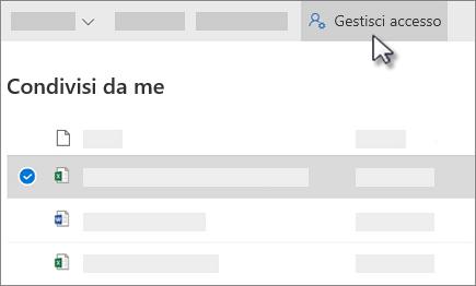 Screenshot del pulsante Gestisci accesso nella visualizzazione condivisi da me in OneDrive for business