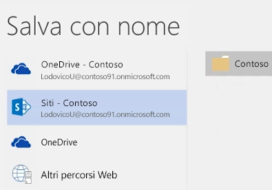 Salvataggio di un documento di OneDrive for Business in una raccolta del sito del team
