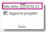 Immagine dell'impostazione della data stato per un progetto