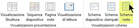 Nella scheda Visualizza della barra multifunzione selezionare Schema note.