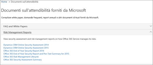 Pagina Garanzia del servizio: Documenti di trust forniti da Microsoft