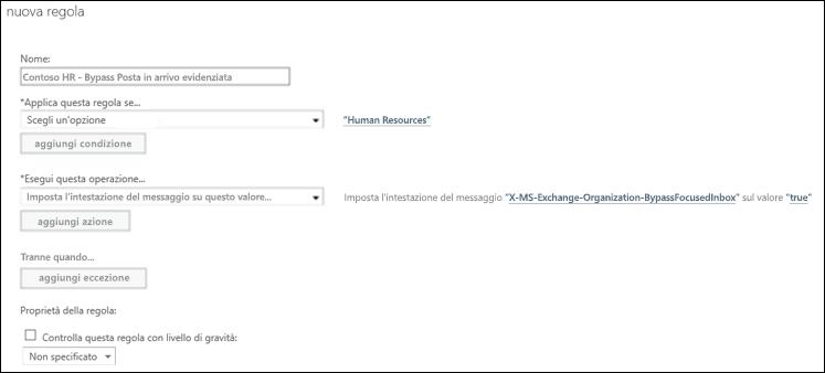 Screenshot: Creare e salvare una nuova regola di Posta in arrivo evidenziata