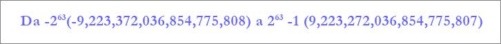 Intervallo del tipo di dati Numero grande