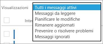 Menu Visualizzazioni del Centro messaggi espanso per mostrare i filtri