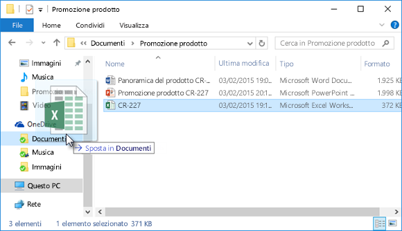 Trascinare file in OneDrive