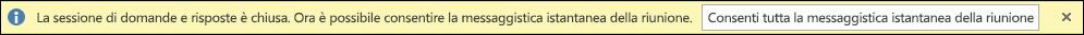 Schermata della notifica di chiusura della sessione di Domande e risposte.