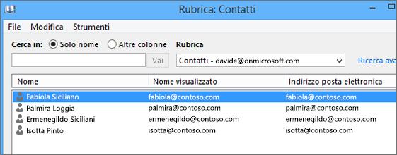 Quando i contatti vengono importati da Google Gmail in Office 365, vengono visualizzati in Rubrica: Contatti