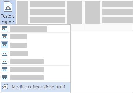 Opzione Modifica disposizione punti per Testo a capo sulla barra multifunzione