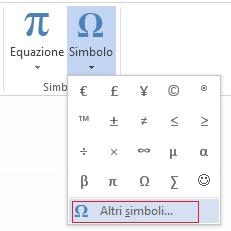 Nella finestra Simbolo fare clic su Altri simboli.