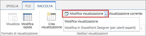 Pulsante Modifica visualizzazione con il menu a discesa aperto