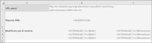 Esempio della funzione FILTERXML