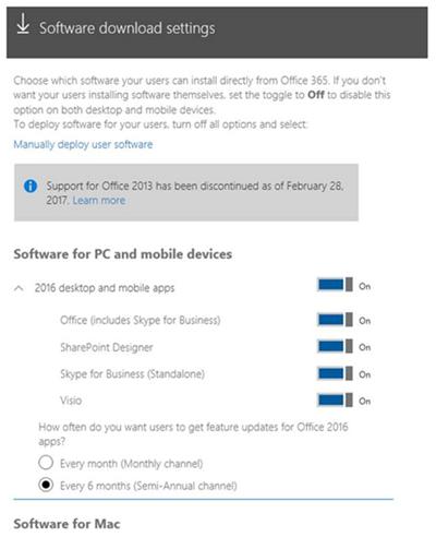 Scegli il software che desideri rendere disponibile agli utenti della tua azienda.