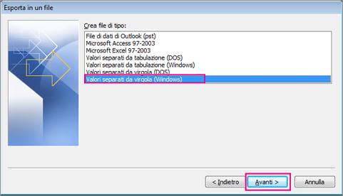 Scegliere Valori separati da virgola (Windows)
