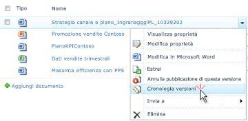 Elenco a discesa per un file di SharePoint in cui è selezionato il comando Cronologia versioni.
