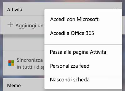Screenshot che mostra l'opzione per l'accesso con Microsoft o Office 365 nel menu Altre carte attività