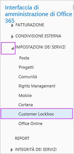Customer Lockbox in Impostazioni servizio nell'interfaccia di amministrazione