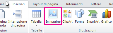 Inserimento di immagini in Office 2010