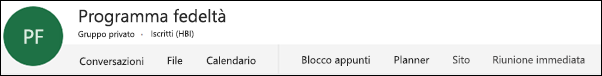 Intestazione di un gruppo di Office 365