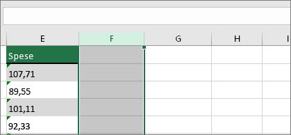 Nuova colonna accanto a numeri in forma di testo