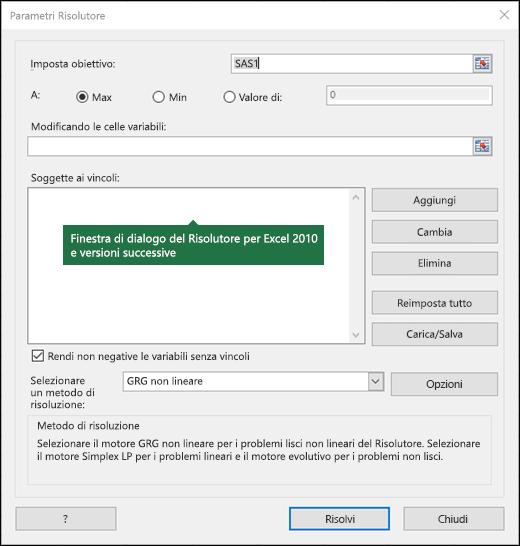 Immagine della finestra di dialogo del Risolutore di Excel 2010