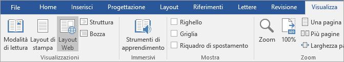 Strumenti di apprendimento nella scheda Visualizza