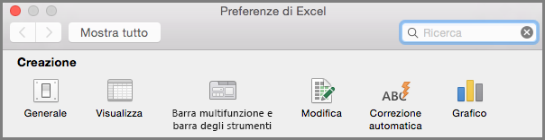 Preferenze per la barra multifunzione e la barra degli strumenti in Office 2016 per Mac