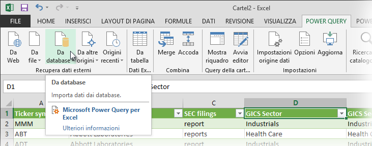 Barra multifunzione di Power Query
