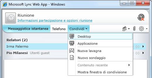 Menu Condividi di Lync Web App
