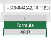 Excel visualizza l'errore #RIF! quando un riferimento di cella non è valido