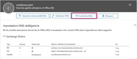 Screenshot che mostra la pagina di Impostazioni DNS obbligatori e il pulsante Controlla DNS con lo stato attivo.