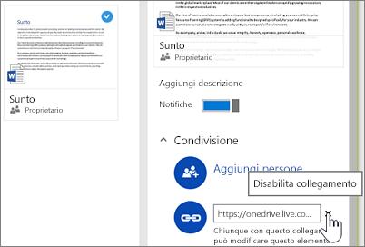 Screenshot che mostra come disabilitare un collegamento nel riquadro dei dettagli per interrompere la condivisione di un elemento