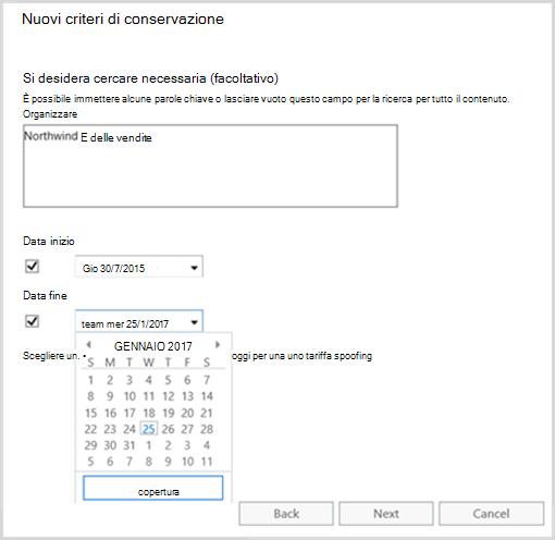Uso di parole chiave e intervalli di date come filtri quando si creano i criteri di conservazione