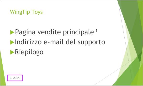 Diapositiva con un piè di pagina in PowerPoint