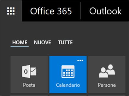 Screenshot del riquadro Calendario nell'icona di avvio delle app di Office 365.