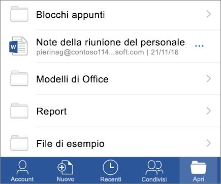 Aprire documenti nell'app Word per dispositivi mobili iOS