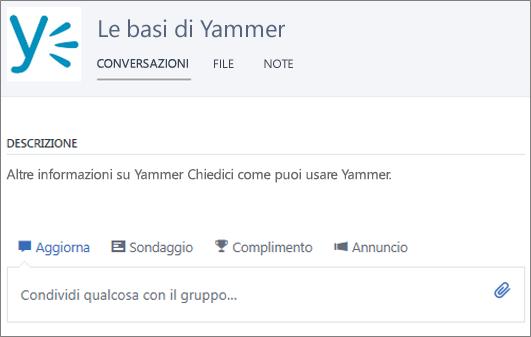 Esempio di gruppo di introduzione a Yammer