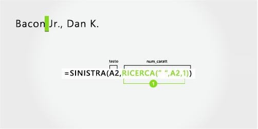 Formula per separare prima il cognome e il suffisso, con la virgola