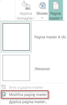Modifica delle pagine master in Publisher 2013.