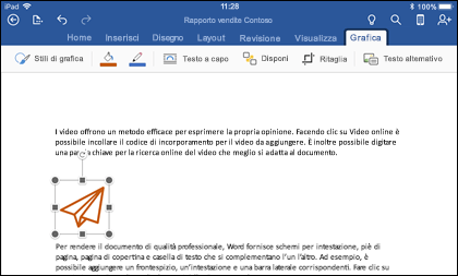 Word per iOS che mostra la scheda modifica grafica