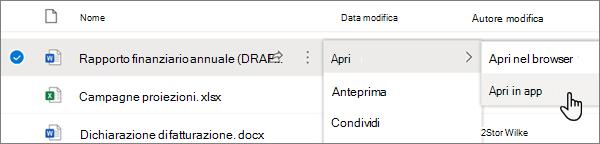 Opzione di menu Apri > Apri nell'app selezionata per un file di Word nel portale di OneDrive online
