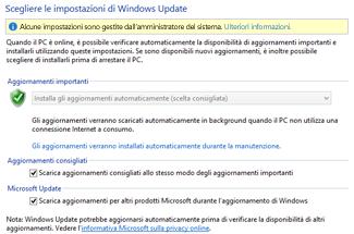 impostazioni per windows update di windows 8 nel pannello di controllo