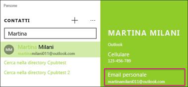 Il nome del contatto scelto deve avere un indirizzo di posta elettronica valido